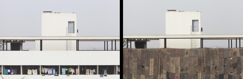 1957u20132057 (2015), Jutesäcke Für Holzkohle Auf Gerüst Im öffentlichen Raum,  Ansichten Vom Ort Vor Und Nach Der Installation, Kwame Nkrumah University  Of ...